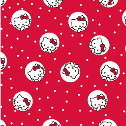 Tricoline Hello Kitty Dots Vermelho