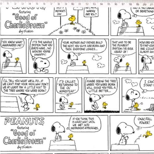 Tricoline Snoopy Quadrinhos Preto Branco
